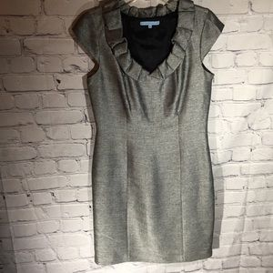 Antonio Melani silver tweed ruffle nick dress Sz 8